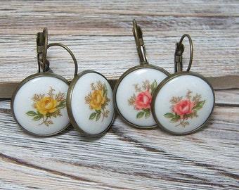 Pink or Yellow Rose Vintage Earrings, Porcelain Cabochon Earrings, Antique Brass Leverback Earrings