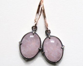 Pink Cabochon Morganite Minimal Earrings 14k Rose Gold Sterling