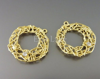 2 round bird's nest jewelry connectors, matte gold branch charms with CZ findings / jewelry craft supplies 1118-MG (matte gold, 2 pcs)