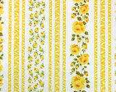 trellis roses in yellow, a vintage sheet fat quarter