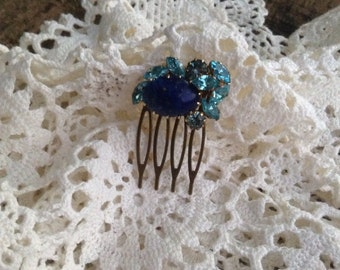 Upcycled Vintage Something Blue Rhinestone Wedding Hair Comb,OOAK,Repurposed,Single Comb