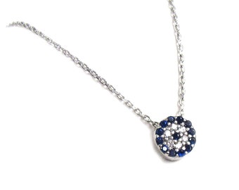 Round Evil Eye Necklace, Cubic Zirconia-- Sterling Silver, celebrity inspired