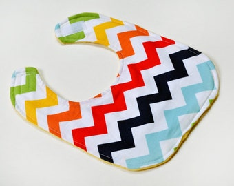Baby Bib for Baby Shower Gift, Baby Boy Bib, Infant Bib, Baby Gift Baby Items, Made From Chevron Fabric