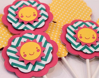 12 You Are My Sunshine Cupcake Toppers Aqua Chevron Stripe Hot Pink Bright Yellow Polka Dot Sun Birthday Party Baby Shower Cake Decorations