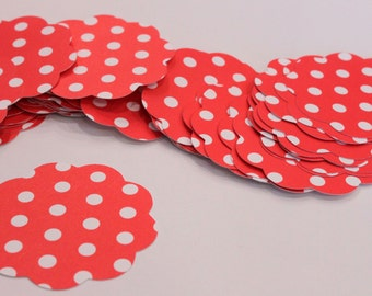 50 Scallop Tags Christmas Red Polka Dot Gift Tag 2 inch READY TO SHIP Scrapbooking Journaling Spot Topper Supply Thank you Card Stock Diecut