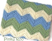 Crib Size Crochet Chevron Baby Blanket in Navy Blue, White and Red