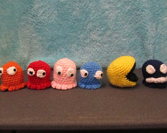 Crochet Pac-Man and Ghosts Set