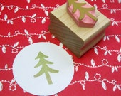Mini Christmas Tree Hand Carved Rubber Stamp - Tree Stamper - Stocking Stuffer Filler - Pine Tree - Winter Scrapbooking - Card Making - Xmas
