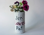 Custom Couple Gift / Vase with names carving / love / Personalized gift / wedding gift / customized vase / made-to-order