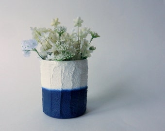 Navy Blue and white vase /  white and blueVase / white glass and concrete planter / Modern decor / handcrafted vase / Nautical inspiration