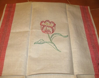 Linen and Cotton Tea Towel - hand embroidered