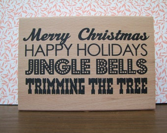 Large Background Stamp - Sentiment Stamp - Christmas - Jingle Bells - New - Wood Mounted - Ditto