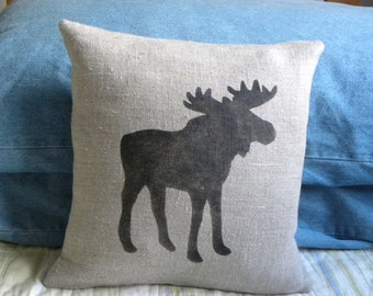 READY TO SHIP Linen Moose pillow Cushion cover Christmas winter or boys room