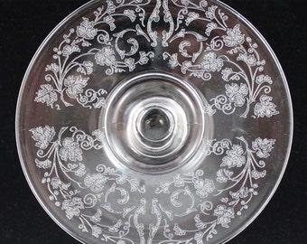 Vintage Floral Etched Glass Comport or Pedestal