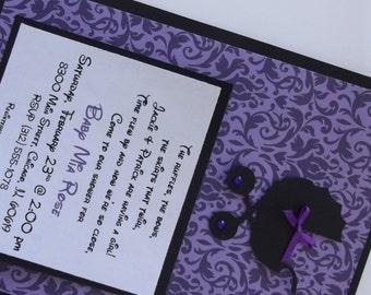 Damask Baby Shower Invitations - Purple Baby Shower Damask Invitations - Envelopes Included