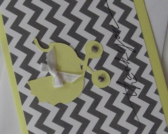 Yellow Gray Grey Chevron Thank You Card Baby Shower Carriage with Envelopes
