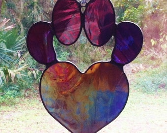 Iridescent Purple Stained Glass Dog Paw Pad with Heart Sun Catcher Great Gift for Dog Lovers!