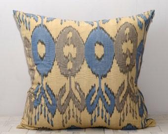 20x20, ikat pillow cover, blue brown pillow