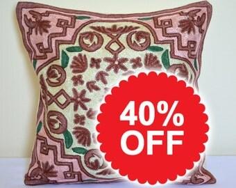 16x16, silk pillow, silk pillowcase, silk pillow cover, embroidered pillow