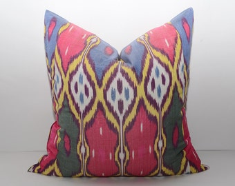 20x20 red blue ikat pillow cover, yellow color, yellow red cushion ikat, red pillow