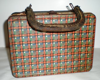 American Thermos Bottle Co.  Red Plaid Lunch Box  - 1940's
