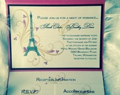 Paris Themed Pocket Wedding Invitation Suite