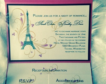 Paris Themed Pocket Wedding Invitation Suite