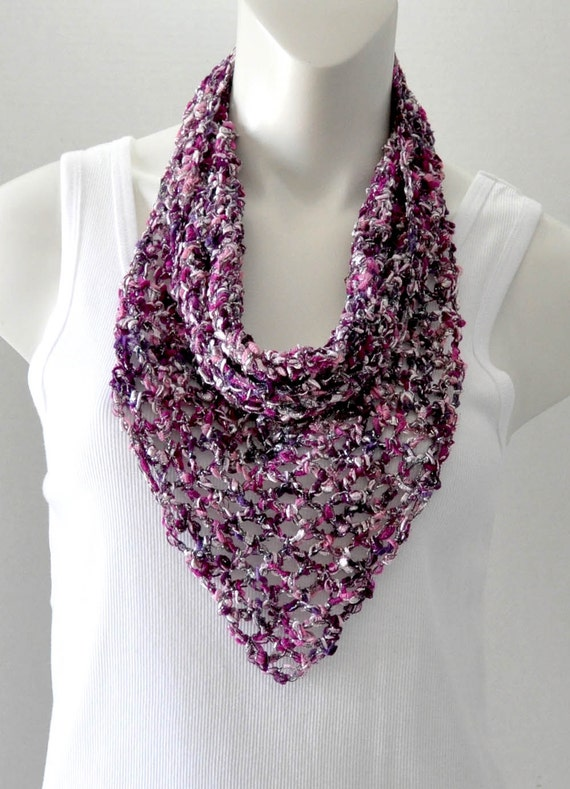 Crochet Ladder Yarn Cowl Kerchief Scarf Purple By Tempodesigns