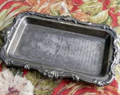 RESERVED wonderful silver plate catch tray...old..beautiful and scrolly with patina....