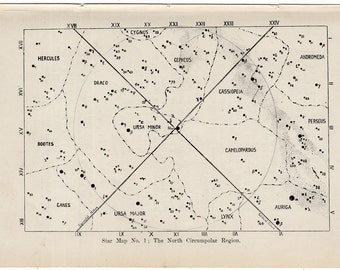 1902 star map original antique astronomy print - region of the lion