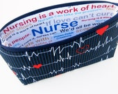 Nurse Cosmetic Zipper Pouch, Make Up Bag, Calling All Nurses, EKG Heart Monitor