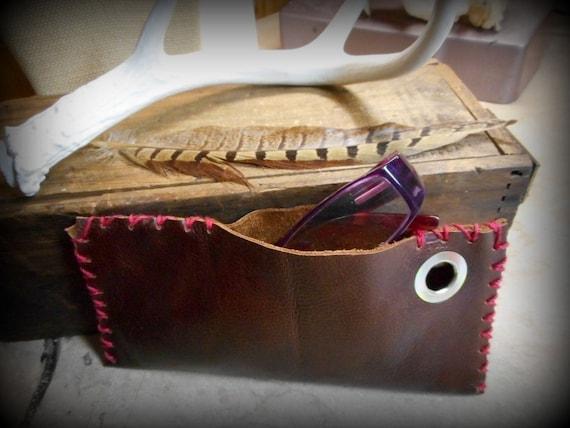 Handmade Deer Leather Reddish Brown Eyeglasses Case, Money Case, tobacco pouch, Native Style, Handmade Tribal, Wallet