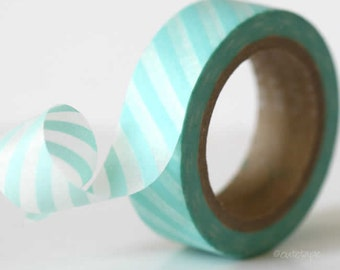 Aqua Washi Tape Baby Aqua Blue Stripe Washi Tape paper craft