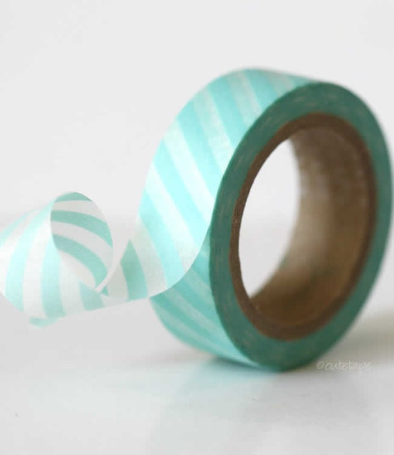 Aqua Washi Tape Baby Aqua Blue Stripe Washi Tape paper craft