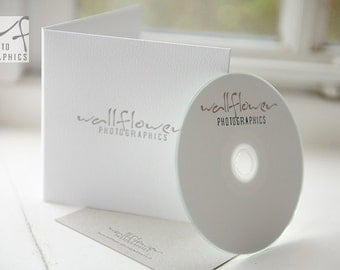 Letterpress Double Felt White CD or DVD Sleeves. Personalised x 50