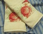 WAVERLY NORFOLK Vintage Rose - Custom Set Decorated Hand Towels - 2 Piece set