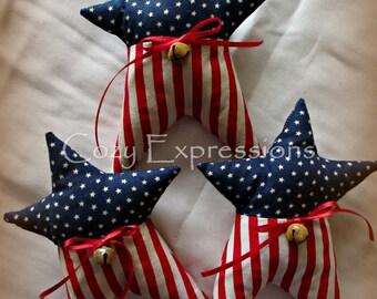 Primitive Patriotic Stars | Patriotic decor | Red white blue decor | Fourth of July decoration | Star bowl fillers | Americana decor
