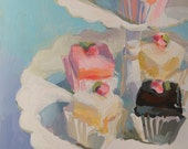 Reproduction of a Painting of Chocolate, Strawberry, and Vanilla Petit Fours on a Scalloped Cake Stand