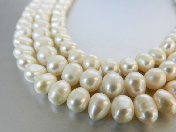 White Freshwater Pearls, Budget Affordable Pearls, 8mm x 6mm White Pearls, Full Strand Loose Pearls