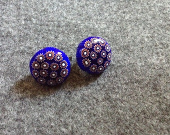 Millefiori clip on earrings in red, white and blue