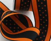 Black and Orange Halloween/Fall Ribbon, Polka Dots Ribbon by the yard, Crafts, Hairbows, Sewing, Trim, Costumes, Wreaths Party Supplies