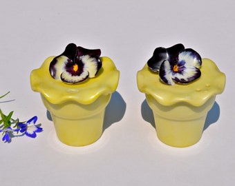 Vintage porcelain pansy salt and pepper shakers purple and yellow pansy