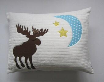 A Moon Lit Moose Pillow