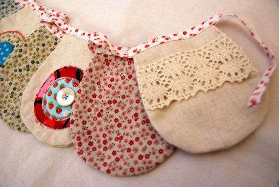 SALE.....Artisan Bunting Embellished with Pretty Trims and Buttons.