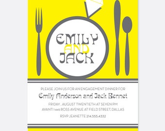 Dinner Engagement Invitation, Diamond Invitation, Yellow, Food Invitation, Dinner Party Invitation,