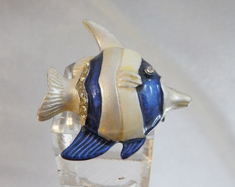Vintage Fish Brooch. Blue White Enamel. Rhinestones. Angelfish Pin.