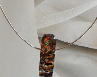 Vintage Fused Dichroic Glass Necklace. Choker. Sterling Silver. Handmade Bead. Green. Purple. Orange. Black.