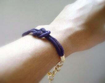 Violet gold Tie the knot bracelet gift stacking bracelet Chunky chain gold Violet bracelet Infinity knot bracelet love