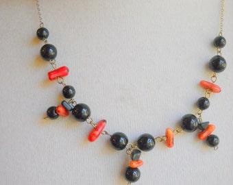 Vintage Black and Red Coral Sterling Vermeil Necklace, Time Raveler