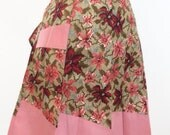 1950s zig zag hem pleated apron in pink and brown floral with red ricrac trim